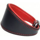 Ace Traditional Leather Dog Collar: Black red lining